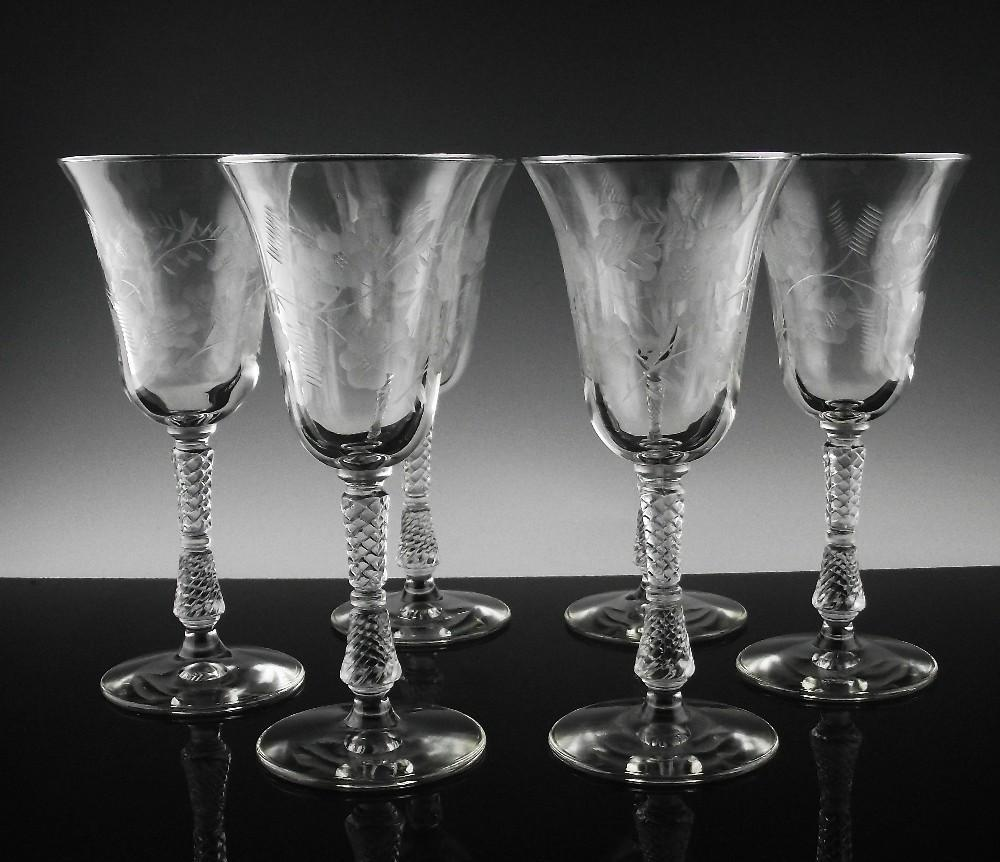 Libbey Rock Sharpe Water/Large Wine Glasses in Blossoms Pattern ca 1940's
