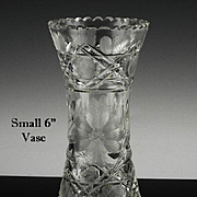 "Small 6"" American Brilliant Vase ca 1876-1916"