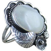 Navajo Sterling and Mother of Pearl Ring