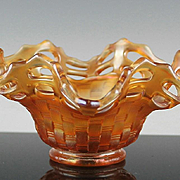 Ruffled Open Edge Basketweave Bowl by Fenton ca 1911