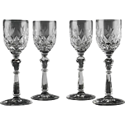 Cut Crystal Cordials in Piccadilly Pattern by Libbey Rock Sharpe ca 1940's