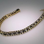 Diamond and Black Sapphire Tennis Bracelet