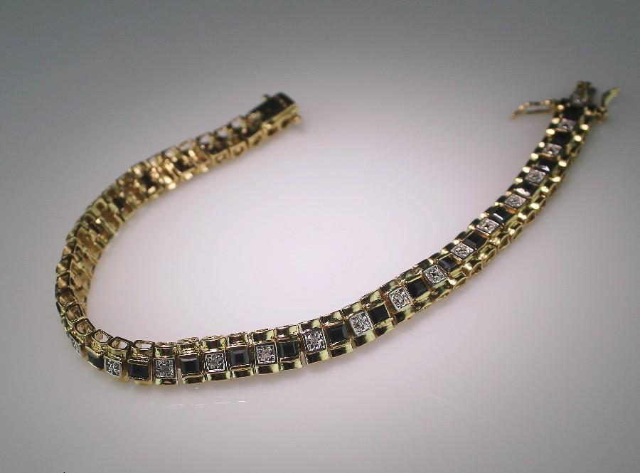 Diamond and Black Sapphire Tennis Bracelet