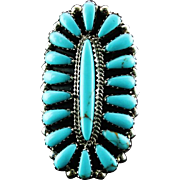 Zuni Needlepoint Turquoise and Sterling Ring