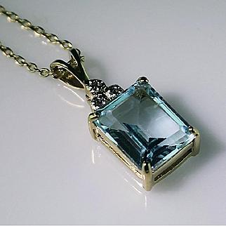 Genuine Blue Topaz Gemstone and Diamonds Set in Gold Vermeil