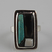 Rolled Turquoise and Sterling Ring