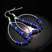 Natural Faceted Lapis and Sterling Earrings