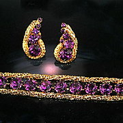Signed Hattie Carnegie Bracelet and Earring Set