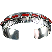 Navajo Sterling and Coral Bracelet