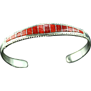 Zuni Coral Inlay Bracelet