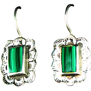 Sterling and Malachite Earrings