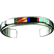 Multi- Stone Channel Inlay Bracelet by Fran Yazzie