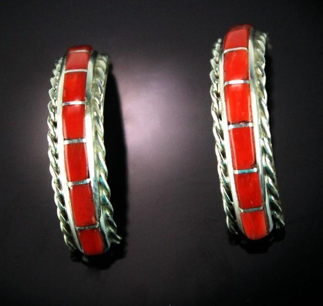 Zuni Coral Inlay Earrings
