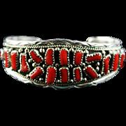 Navajo Natural Branch Coral and Sterling Bracelet