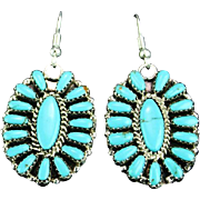 Zuni Needlepoint Turquoise and Sterling Earrings