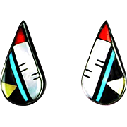 Zuni Multi-Stone Inlay Earrings