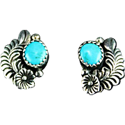 Navajo Sterling and Turquoise Earrings by Robert Becenti