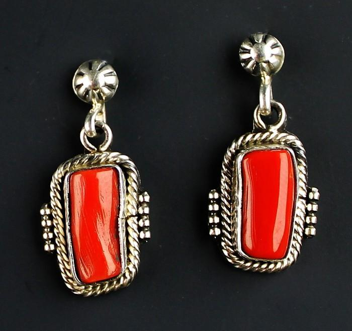 Navajo Branch Coral and Sterling Earrings