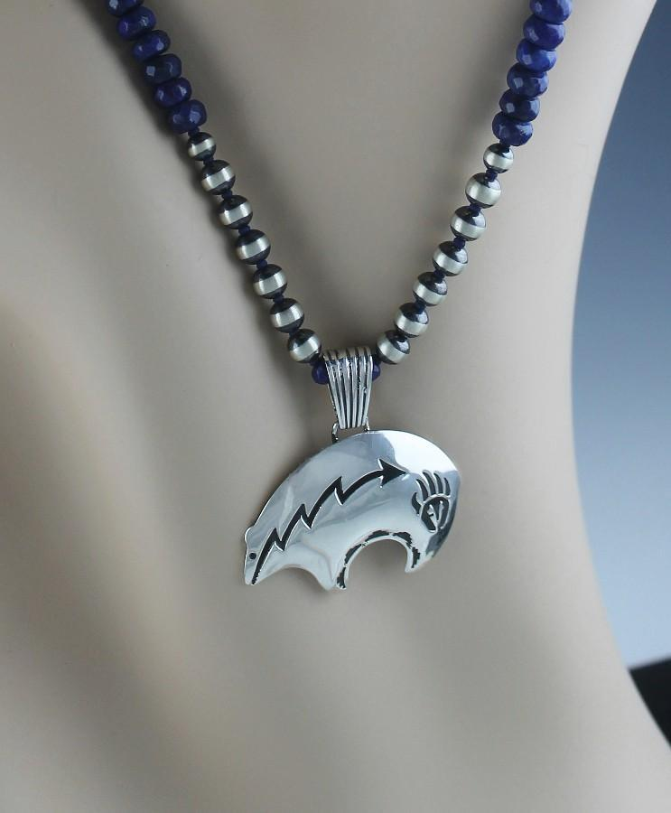 Navajo Bear Pendent With Navajo Pearl Sterling Beads and Lapis