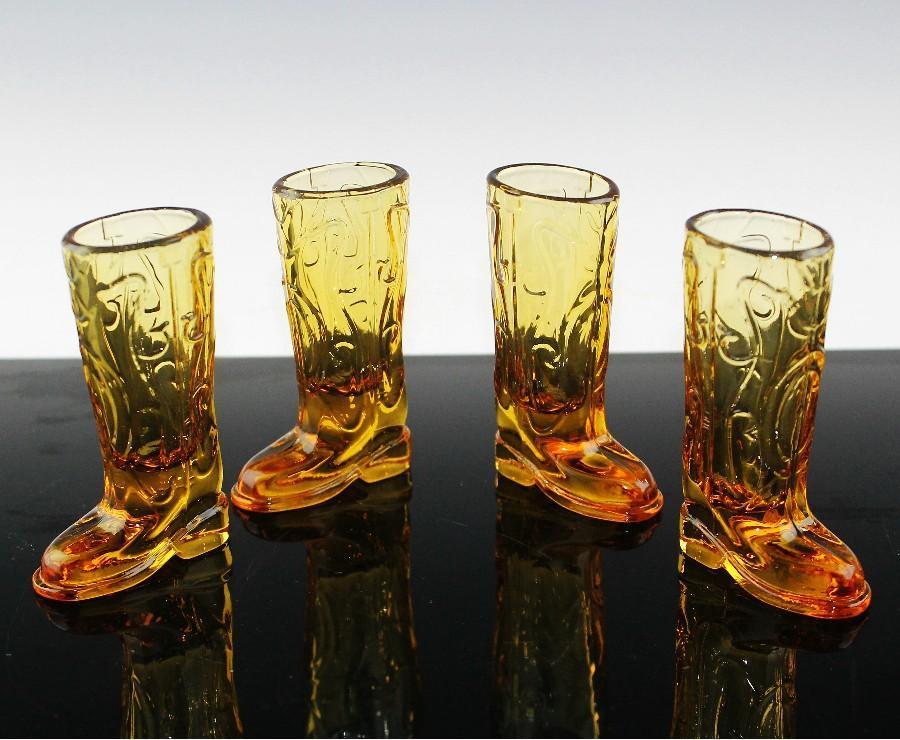 Amber Western Boot Shot Glasses