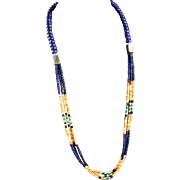 White Fox Creation: Lapis, Spiny Oyster and Turquoise Necklace