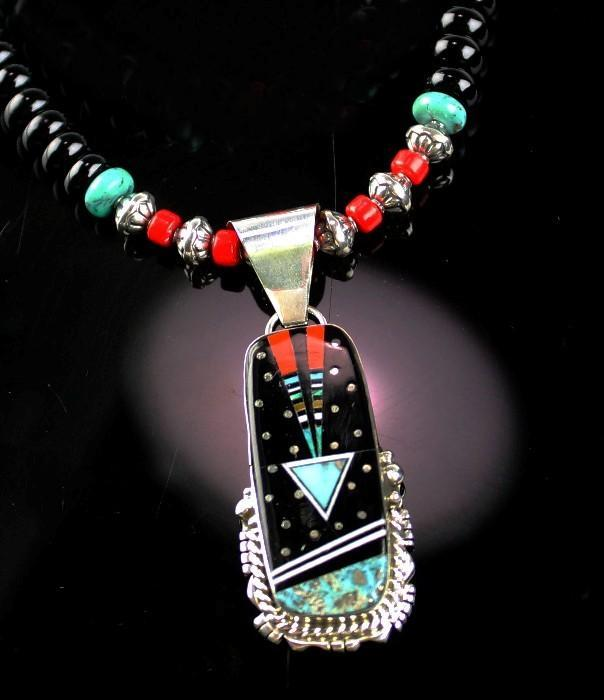White Fox Creation: Turquoise and Coral Pendent Necklace