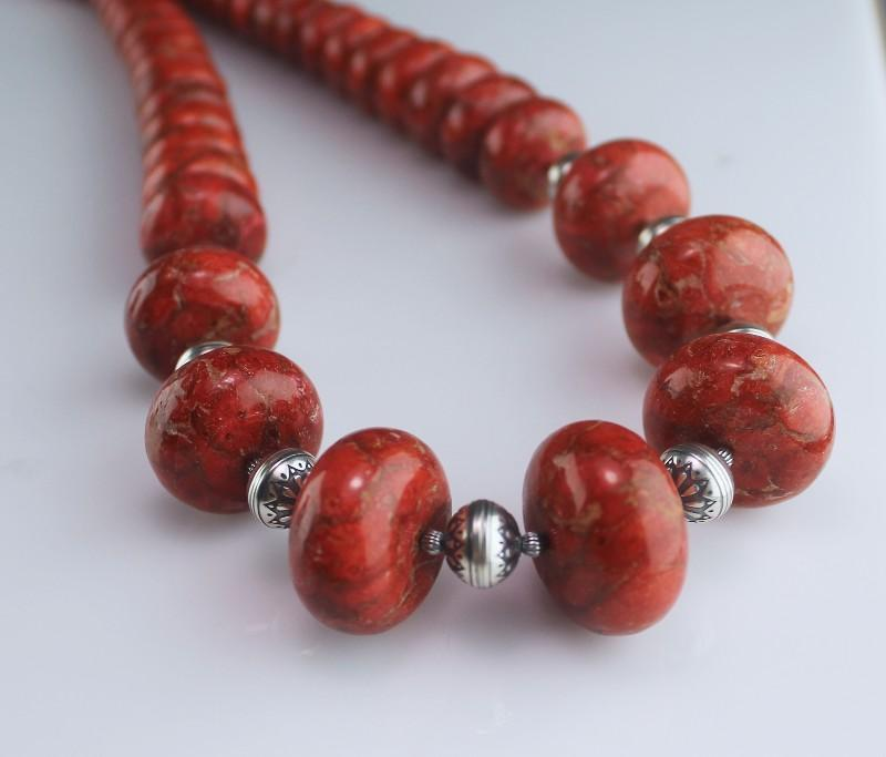White Fox Creation: Spectacular Coral and Sterling Necklace