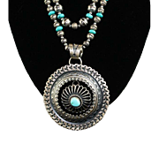 White Fox Creation: Turquoise and Sterling Necklace