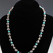 White Fox Creation: Stamped Sterling Beads and Turquoise Necklace