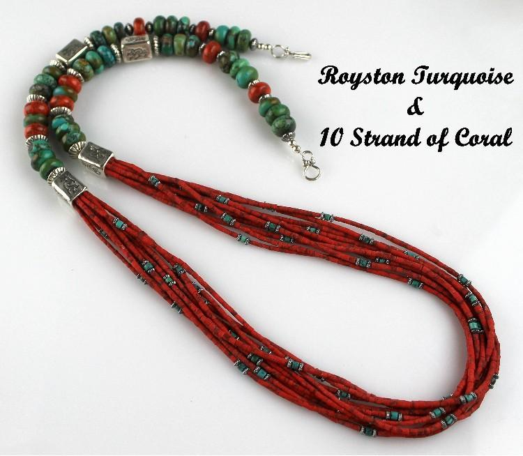 White Fox Creation: Beautiful Royston Turquoise and 10 Strand Coral Necklace