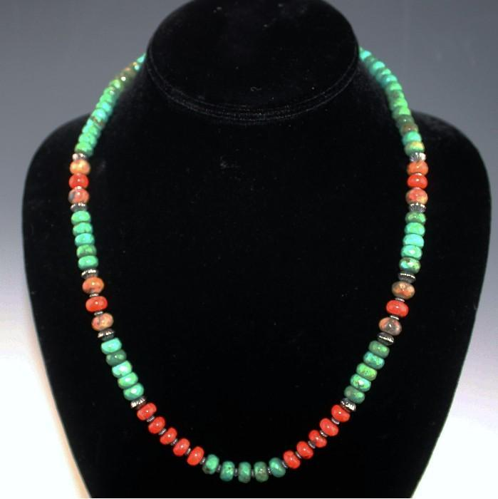 White Fox Creation: Facetted Turquoise and Coral Necklace