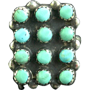 Old Zuni Petite Point Turquoise and Sterling Ring