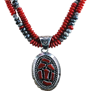 Another White Fox Creation: Coral and Picasso Marble Necklace