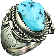 Navajo Sterling and Turquoise Nugget Ring