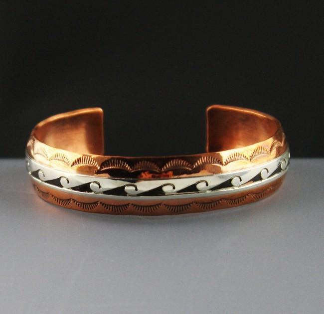 Sterling and Copper Bracelet by Scott Skeets