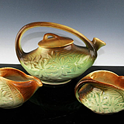 McCoy Brown and Green Daisy Tea Set