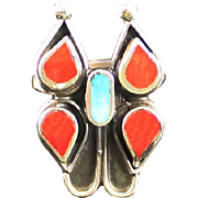 Zuni Turquoise and Coral Inlay Butterfly