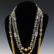 Light Up the Night with Spectacular Sterling and Gold Vermeil Necklace Set