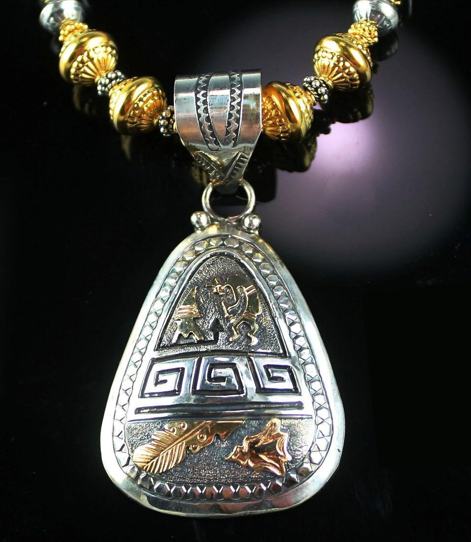 Beautiful Sterling and Gold Vermeil Necklace with Sterling and Gold Fill Pendent by Alonzo Mariano