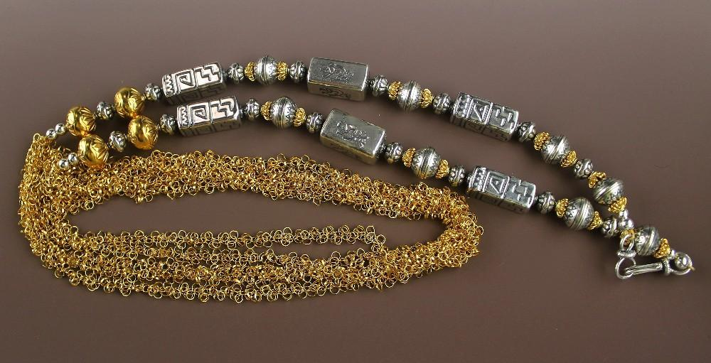 Extra Long Sterling and Gold Vermeil Necklace