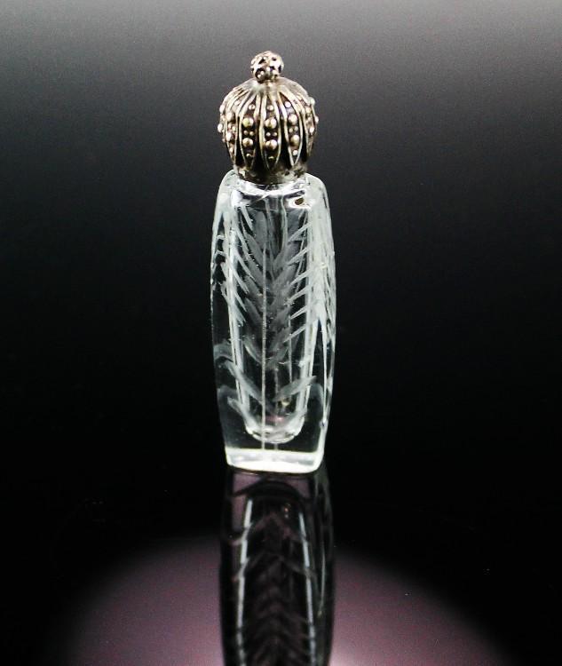 La Castillere French Etched Perfume Bottle ca 1920's