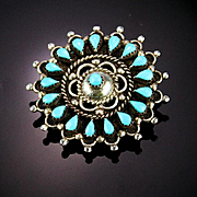 Lovely Old Zuni Petite Point Brooch/Pendent