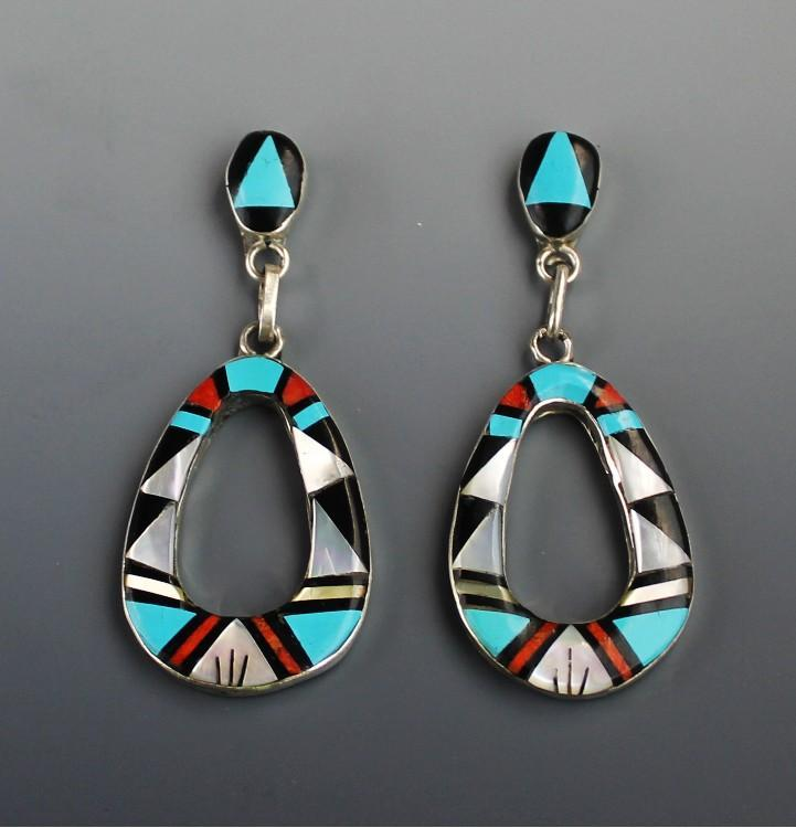 Jazzie Zuni Inlay Dangle Earrings by Rose Bowannie