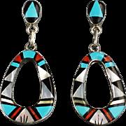 Jazzie Zuni Inlay Dangle Earrings by Rose Bowannie