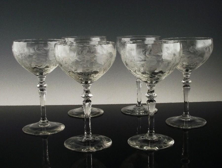 Libbey Rock Sharpe Champagne/Champagne Cocktail Glasses ca 1937