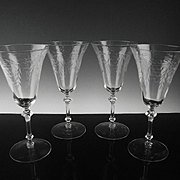 Elegant Floral Cut Water/Large Wine Glasses