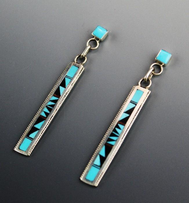 Long Zuni Inlay Earrings by Rhianna Weahkee