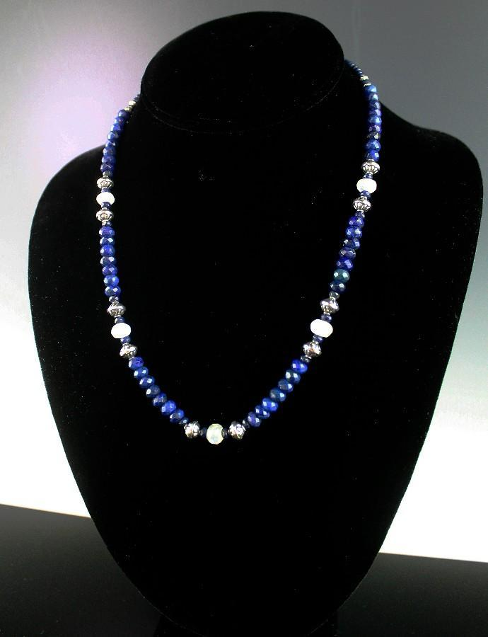 White Fox Creation: Natural Lapis and Moonstone Necklace