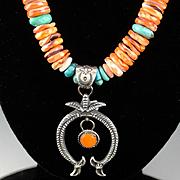 Navajo Naja and Colorado Canyon Beaded Necklace