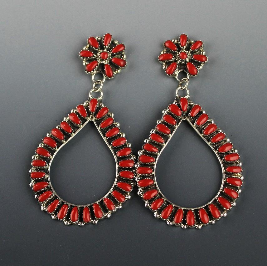 Extra Long Coral Earrings